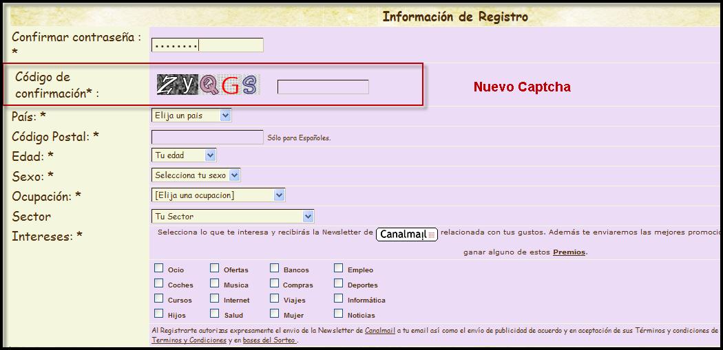 Ottimizzazione della sicurezza dei forum: codice di conferma visuale nel registro degli utenti 8110