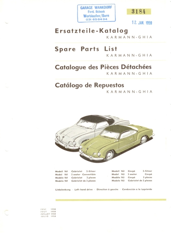 Karmann Ghia Low Light 1958 book 00112