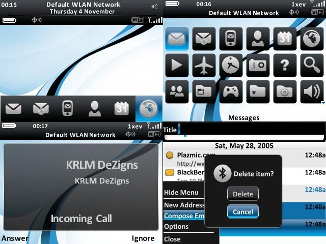 Simple & Clean Black & Blue Design Themes for BlackBerry 85xx 711