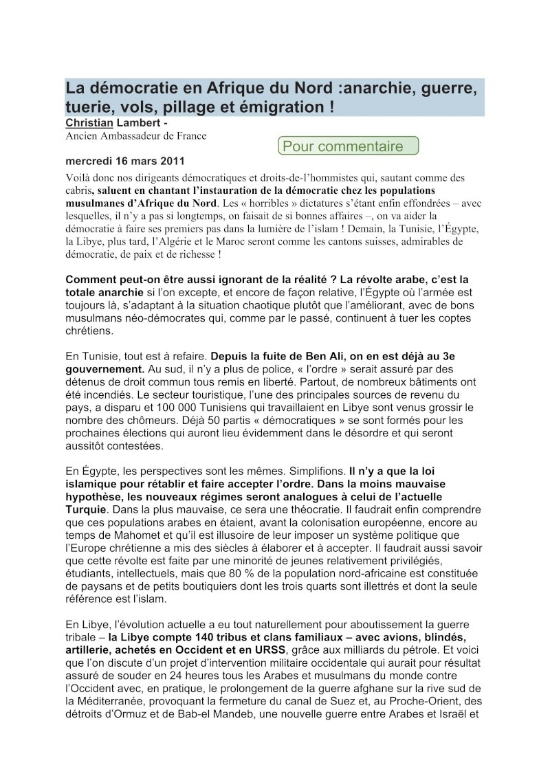 La démocratie en Afrique du Nord: anarchie, guerre, tuerie, vols, pillage et immigration - Christian Lambert ancien ambassadeur de France Democr10
