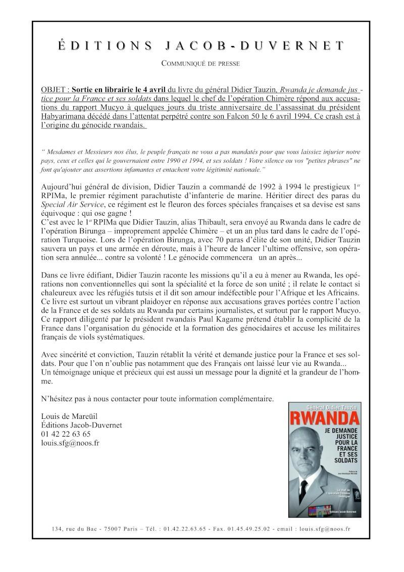Rwanda: Le Général Didier TAUZIN demande justice pour la France et ses soldats -cdc 1er RPIMa Tauzin10