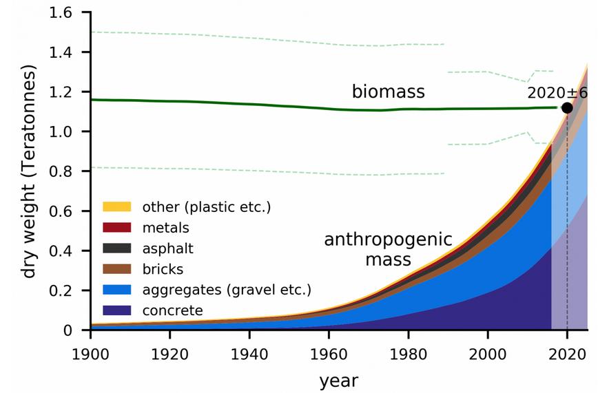 La masa de los materiales humanos ya iguala a la biomasa global Biomas10