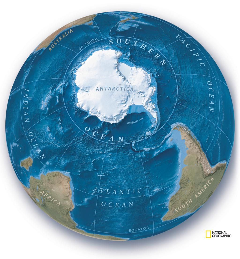 Los cartógrafos de la revista National Geographic aprovecharon el Día de los Océanos del pasado 8 de junio para reconocer la existencia de la masa de agua que rodea la Antártida como el quinto océano de la Tierra. Ngenvi11