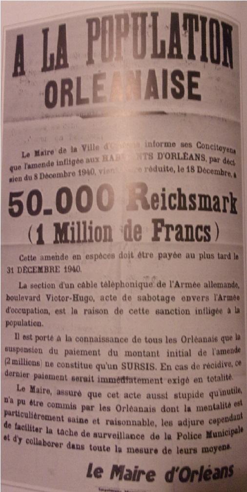 """Décembre 1940 """"Contribution à l'amende imposée par les autorités occupantes"""" Oa12"""