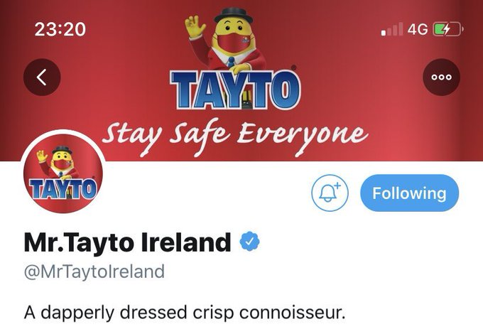 Mr Tayto Ireland dons face mask to encourage Covid safety – but Mr Tayto NI remains mask-free Ehbred10