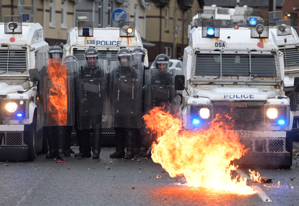 Political leaders condemn night of violence in Belfast as bus hijacked and set on fire Gettyi70