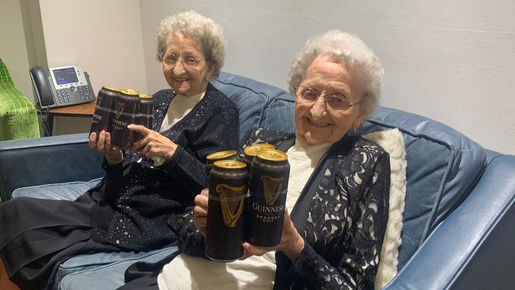 96-year-old twins who swear 'plenty of Guinness' is secret to long life are both battling Covid-19 Tipton10