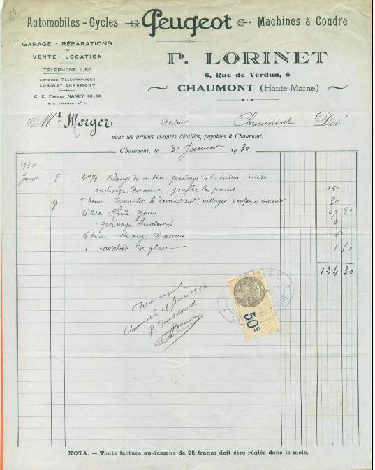 Cartes Postales Anciennes de garages PEUGEOT (Garages, Agences et Concessions) - Page 2 Lorine11