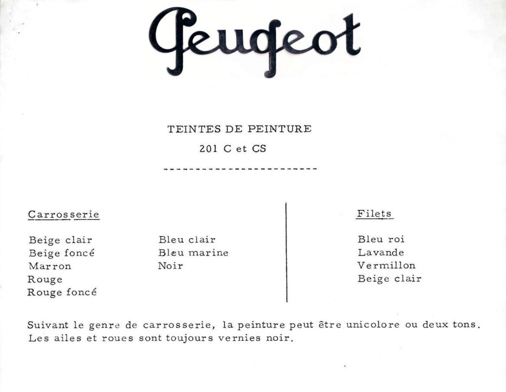 Couleurs Peugeot 201 C Peugeo17