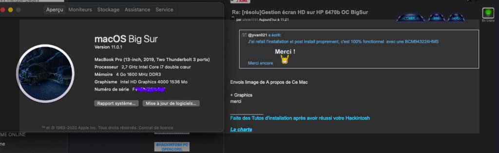 [résolu]Gestion écran HD sur HP 6470b OC BigSur Captur16