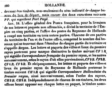 Tarif postal pour l'etranger (1833) Cfr10
