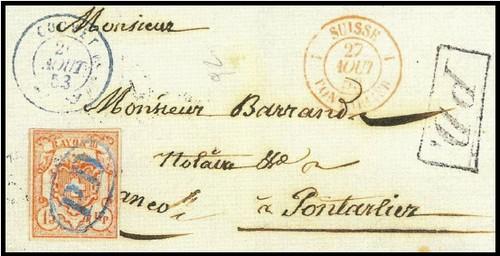 Tarif limitrophe Couvet-Pontarlier 1853 Couv2710