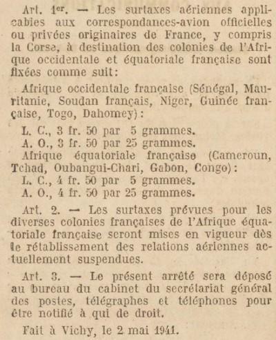 Saint Raphaël à Pointe Noire (Moyen Congo) le 22/04/1941 : problème de tarification  Jo120510
