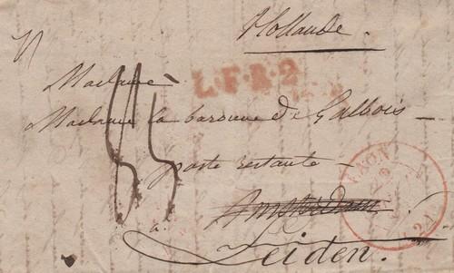 Tarif postal pour l'etranger (1833) Lfr210