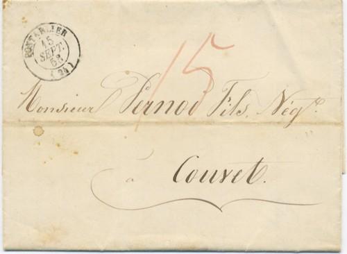 Tarif limitrophe Couvet-Pontarlier 1853 Pont1510