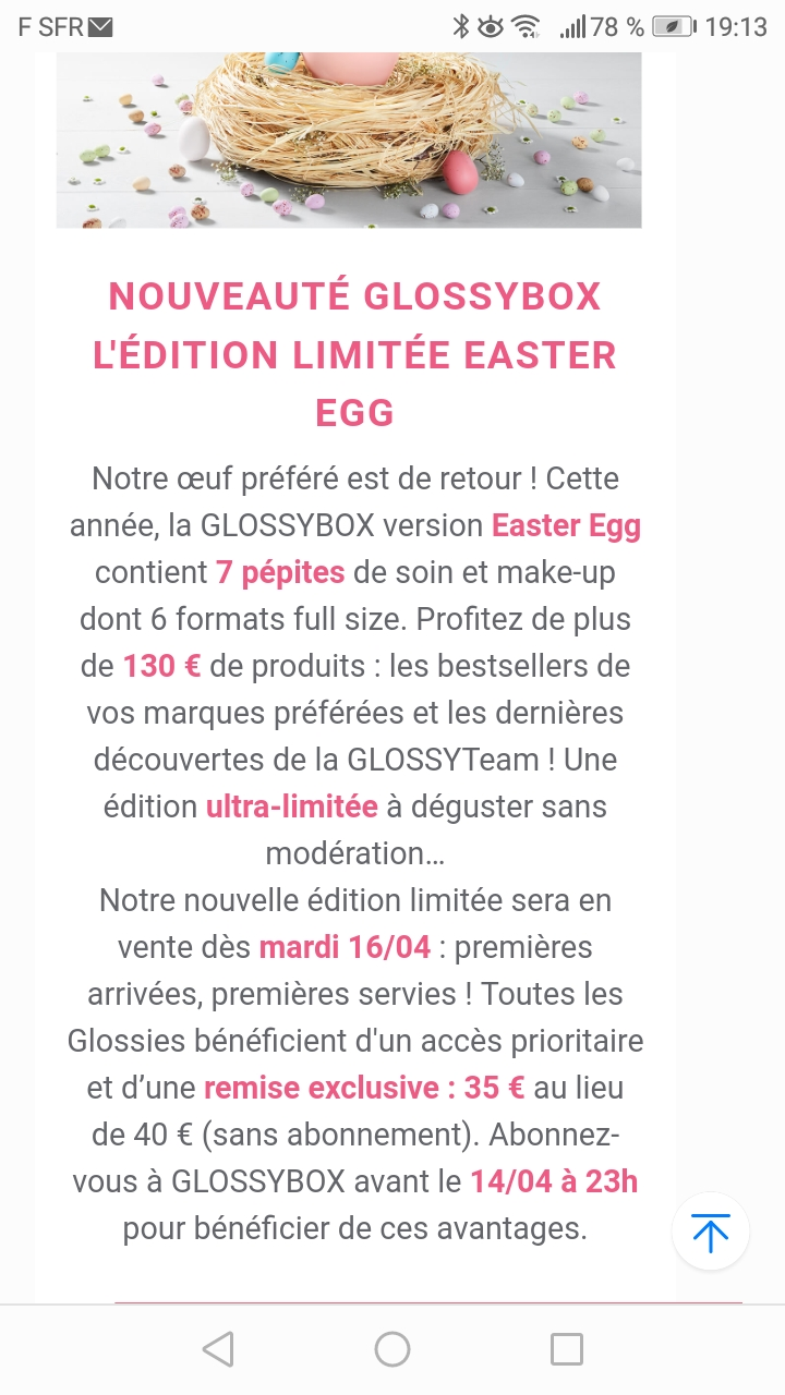 Glossybox édition limitée Easter Egg 2019 Screen24