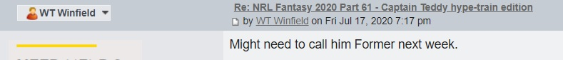 NRL Fantasy 2020 Part 63 - Stalling of the Robson train, Choo Poo - Page 49 Former10