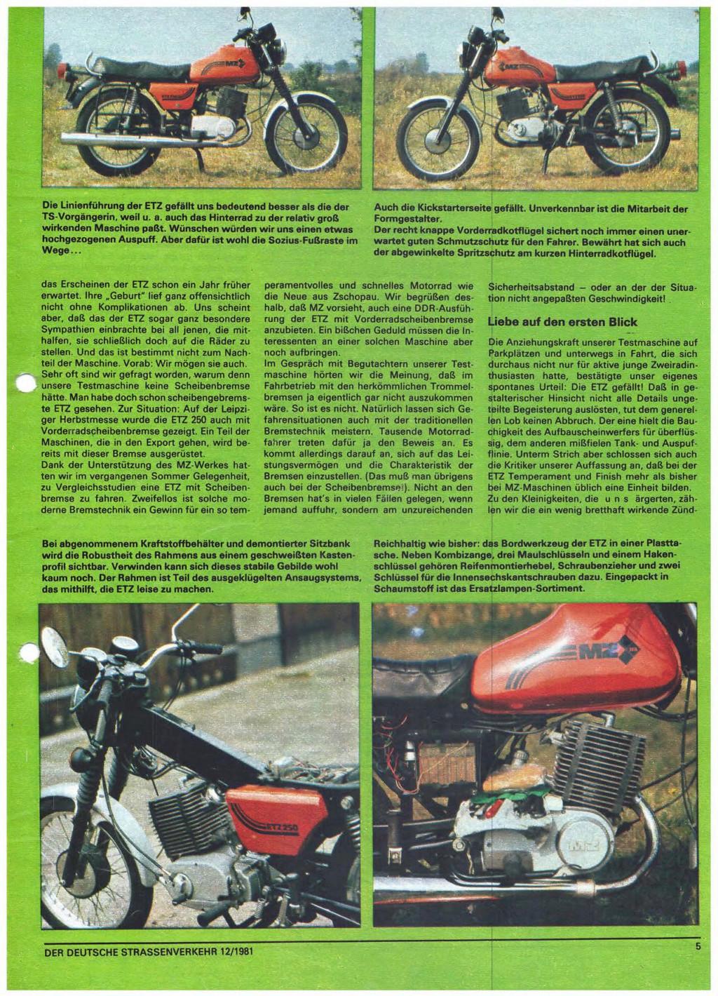Test ETZ 250 Der deutsche Strassenverkehr, n° 12/1981) Der-de16