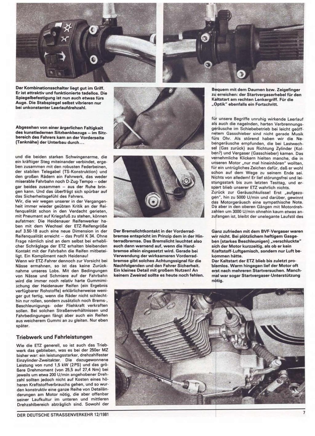 Test ETZ 250 Der deutsche Strassenverkehr, n° 12/1981) Der-de17