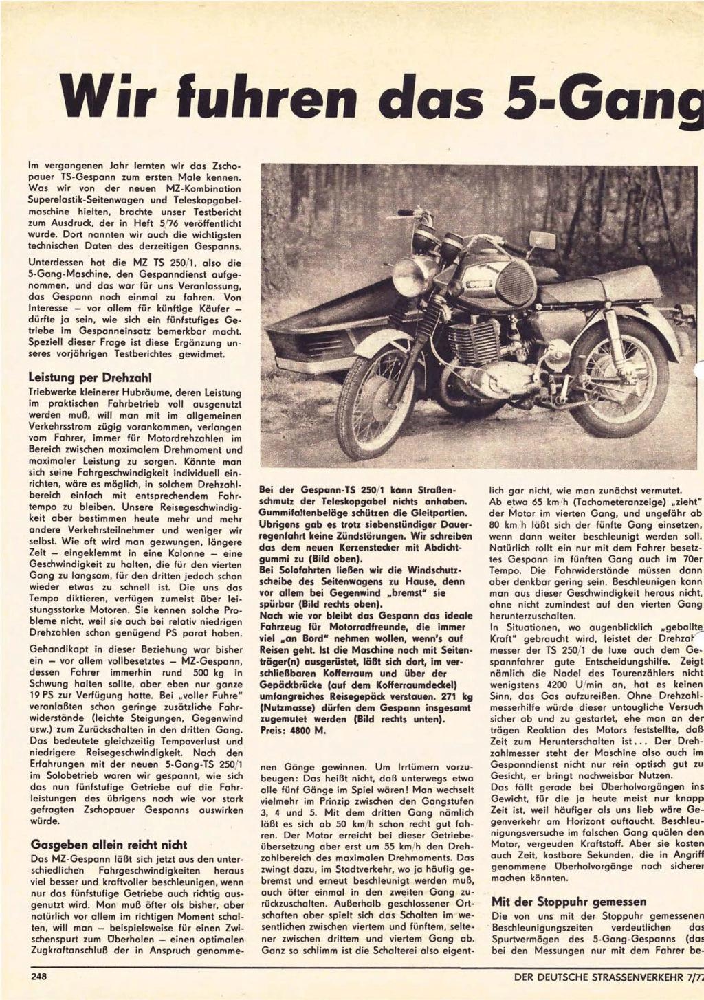 """TS 250 5 vitesses : essai """"Der deutsche Strasserverkehr (n° 7/1977) Derdeu23"""