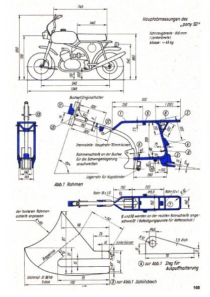 Pony 50 : une mini-mobylette sur un plan RDA (magazine practic 3/1974) Pony-511