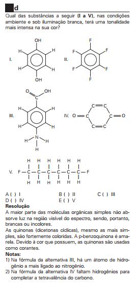 ITA 1998 Qual das substâncias abaixo (I a V) Scree270