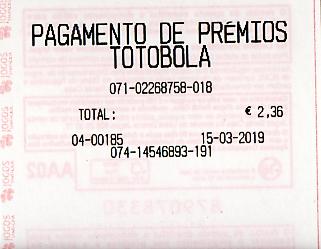 Extra - TOTOBOLA EXTRA 10/2019 QUINTA-FEIRA = UM TERCEIRO PRÉMIO (11) 1110