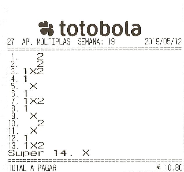 totobola - TOTOBOLA NORMAL 19/2019 DOMINGO = UM TERCEIRO PRÉMIO (11) Totobo12