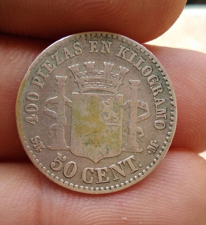 50 centimos 1869. Gobierno Provisional. Manchas Amarillas. Opinión 212