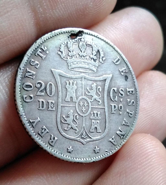 20 Centavos de peso 1883. Alfonso XII. Manila. Manchas Amarillas. Opinión 3310