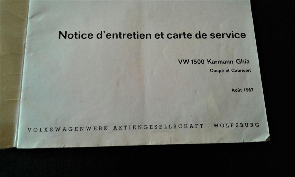 Livret notice karmann ghia Aout 67 modèle 68 20190119