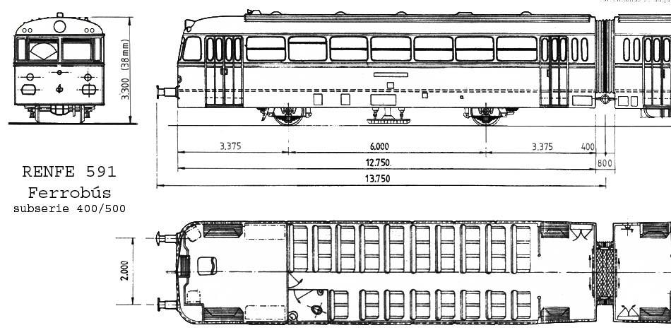 Ferrobus RENFE serie 591 a escala G 591-0510