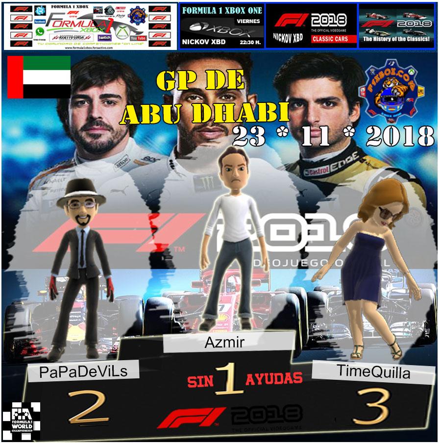 F1 2018 *** CAMPEONATO NIKI LAUDA *** SIN AYUDAS *** RESULTADOS Y PODIUM *** GP DE ABU DHABI *** 09 - 11 - 2018 Podio_11