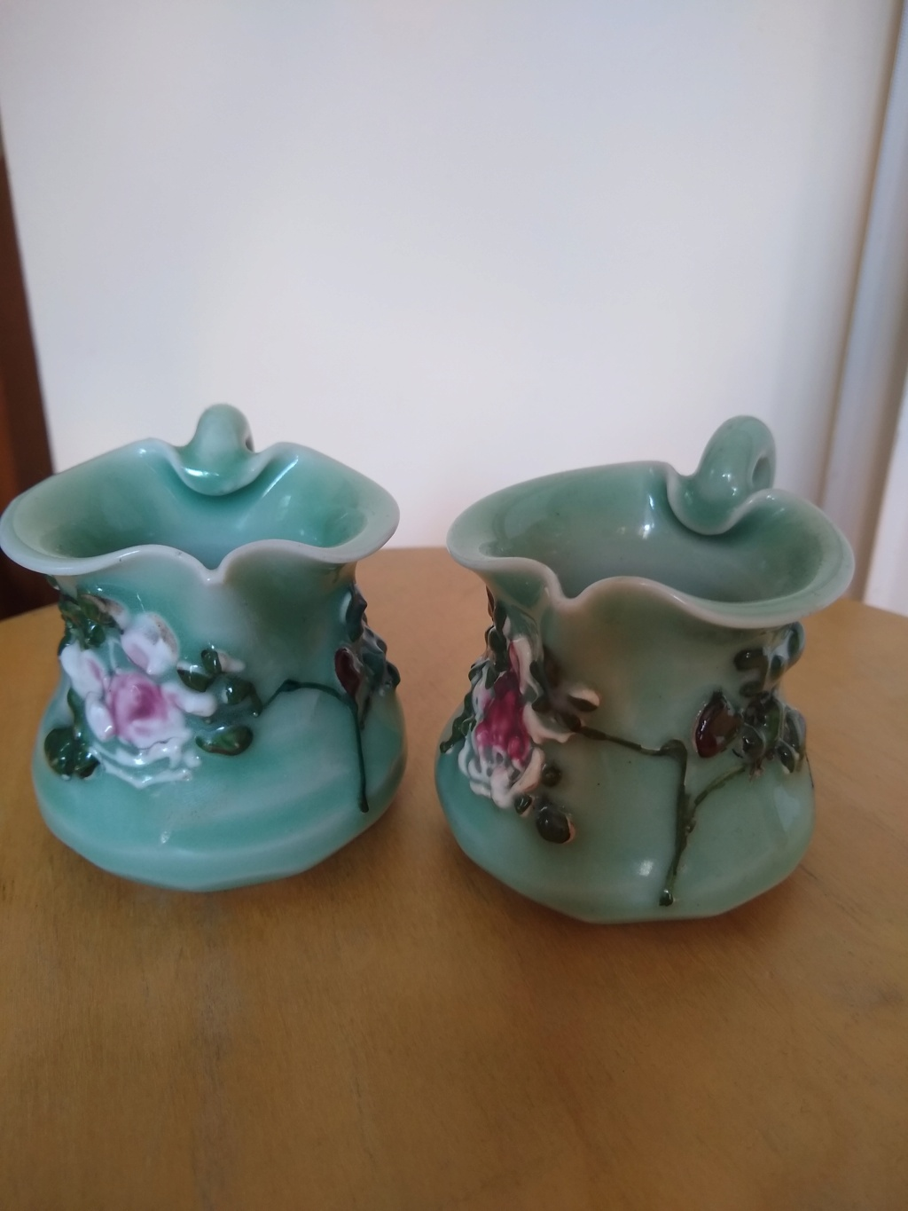 Small Japanese Seto ware, celadon glazed, floral decorated, pitchers Img_2015