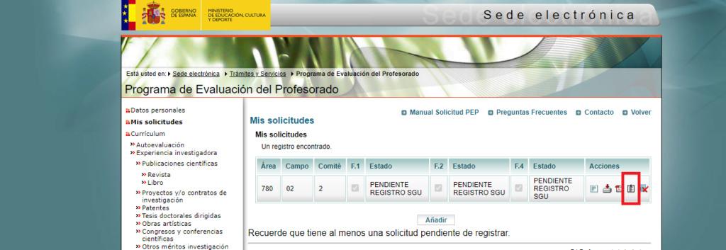 Error al registrar solicitud SGU Sin_tz10