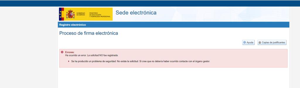 Error al registrar solicitud SGU Sin_tz11