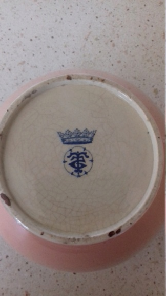 BROWN PINK TEAPOT SILVER RIM Mark under blue Crown T reverse 5 in circle 20210619
