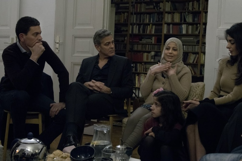 George Clooney and Amal meeting with Refugees Cloone12