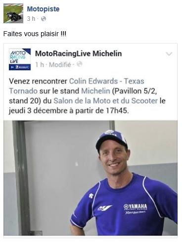 "Colin Edwards ""Texas Tornado"" au salon de la moto PARIS ! Michel10"