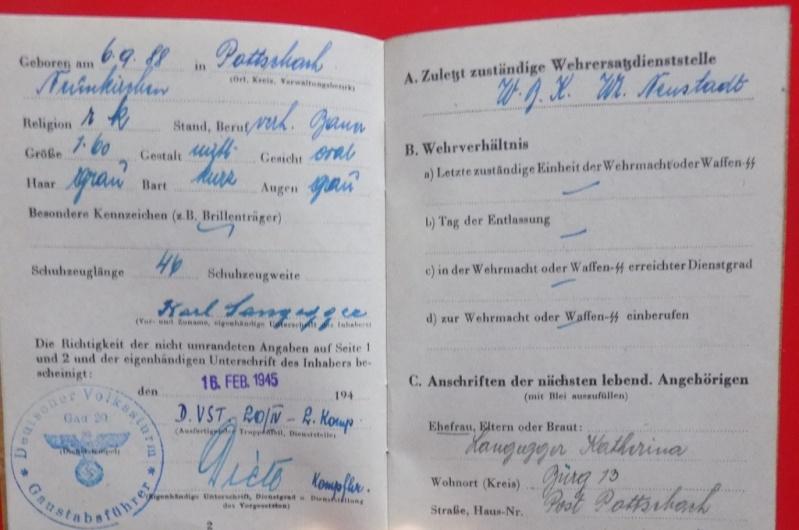 Vos livrets militaires allemands WWII (Soldbuch, Wehrpass..) / Heer-LW-KM-SS... - Page 2 Dscn3511