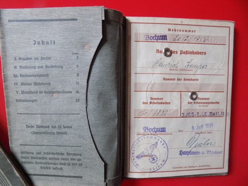Vos livrets militaires allemands WWII (Soldbuch, Wehrpass..) / Heer-LW-KM-SS... - Page 3 Lening11