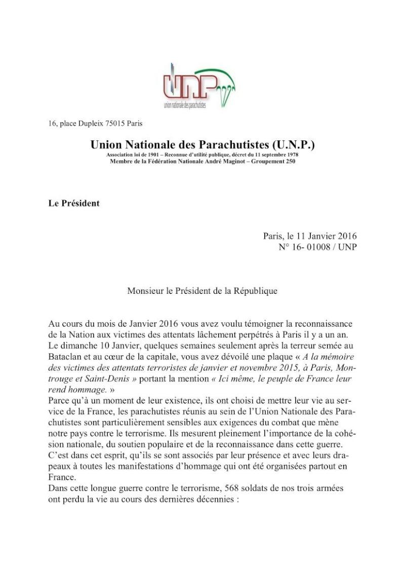 Information au 1er RCP d'une lettre adressée au président de la République par le général Cambournac Président de l'UNP Unp_lz11