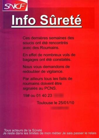 Dans le TER, une affiche SNCF qui stigmatise les Roumains Affich10