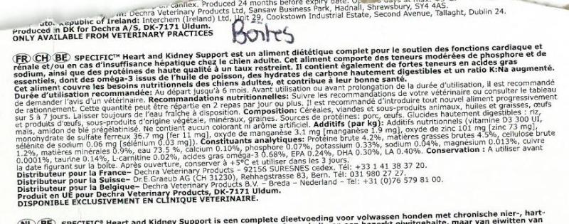 Base de données sur l'alimentation diététique vétérinaire pour chiens insuffisants rénaux Boytes10