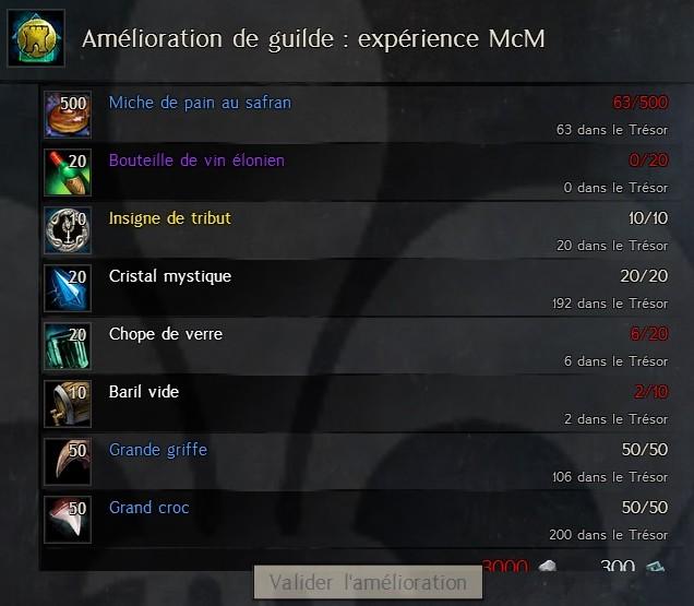 Amélioration de guilde : Expérience McM Expm17