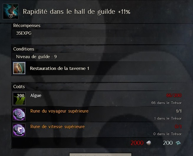 Rapidité dans le hall de guilde +11% Rapidi15