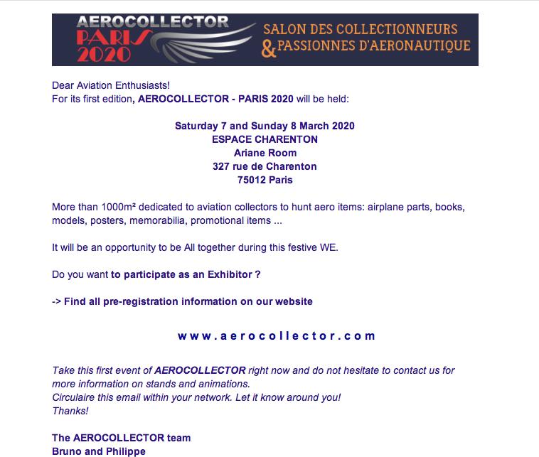 7 & 8 mars: AEROCOLLECTOR Paris Capt1291