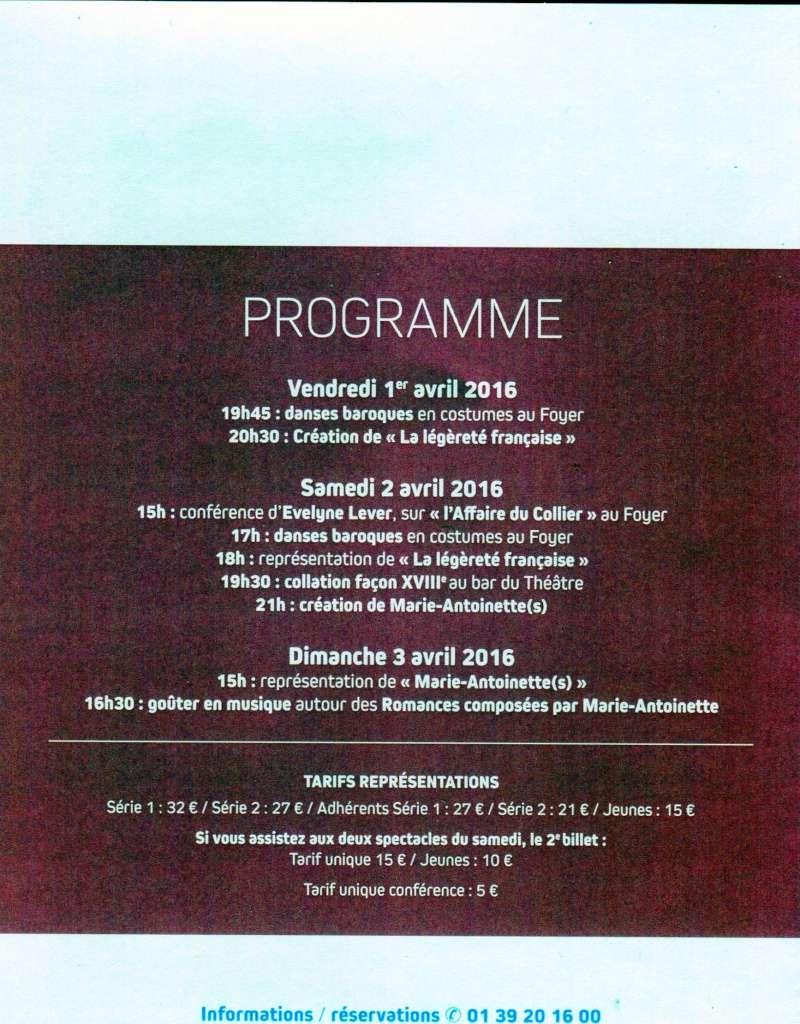 """Du 1er au 3 avril 2016 : """"Week-end dédié à Marie-Antoinette"""", au théâtre Montansier  Img87110"""
