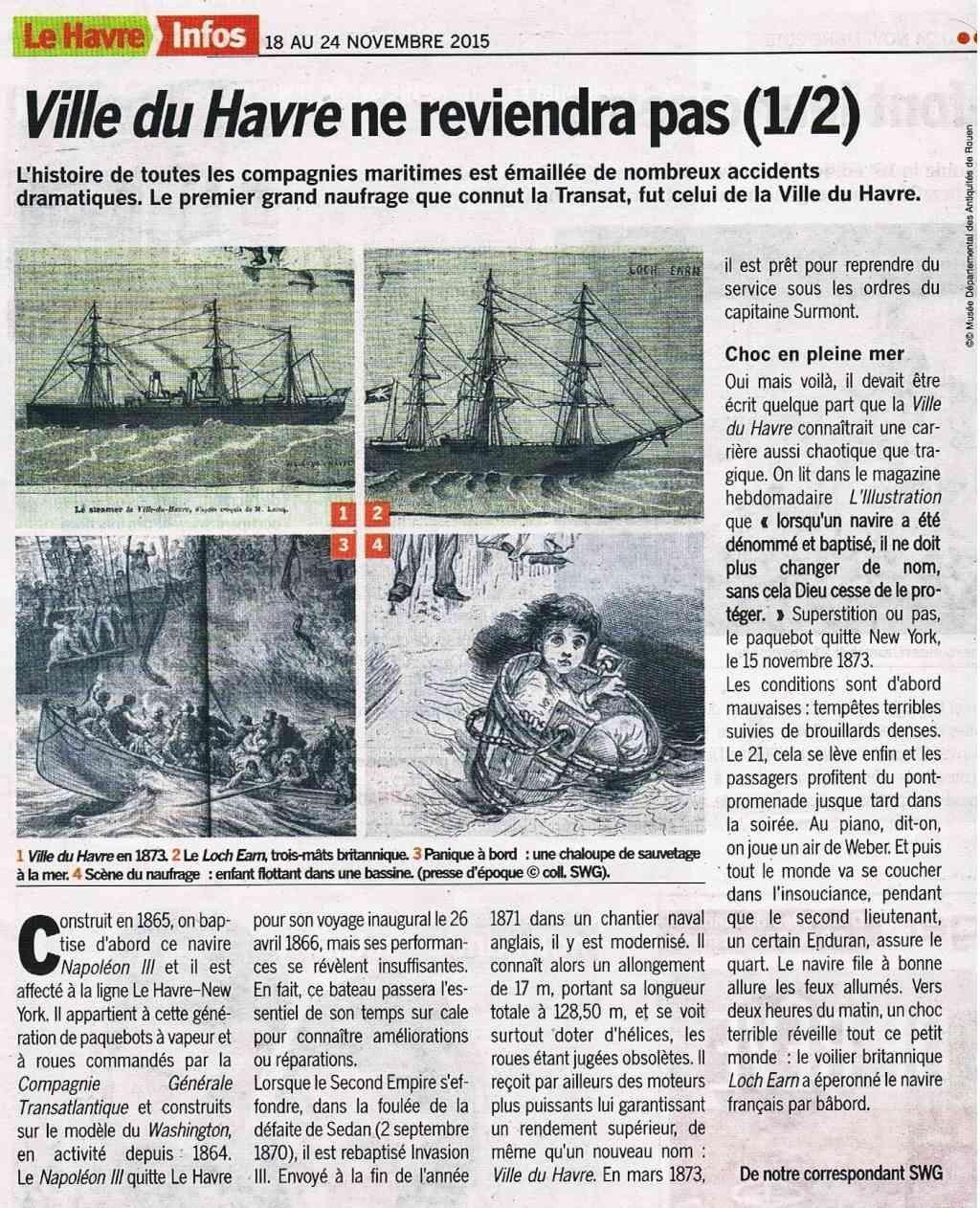 "Navire ""Ville du Havre"" sombre en 1873 2015-118"
