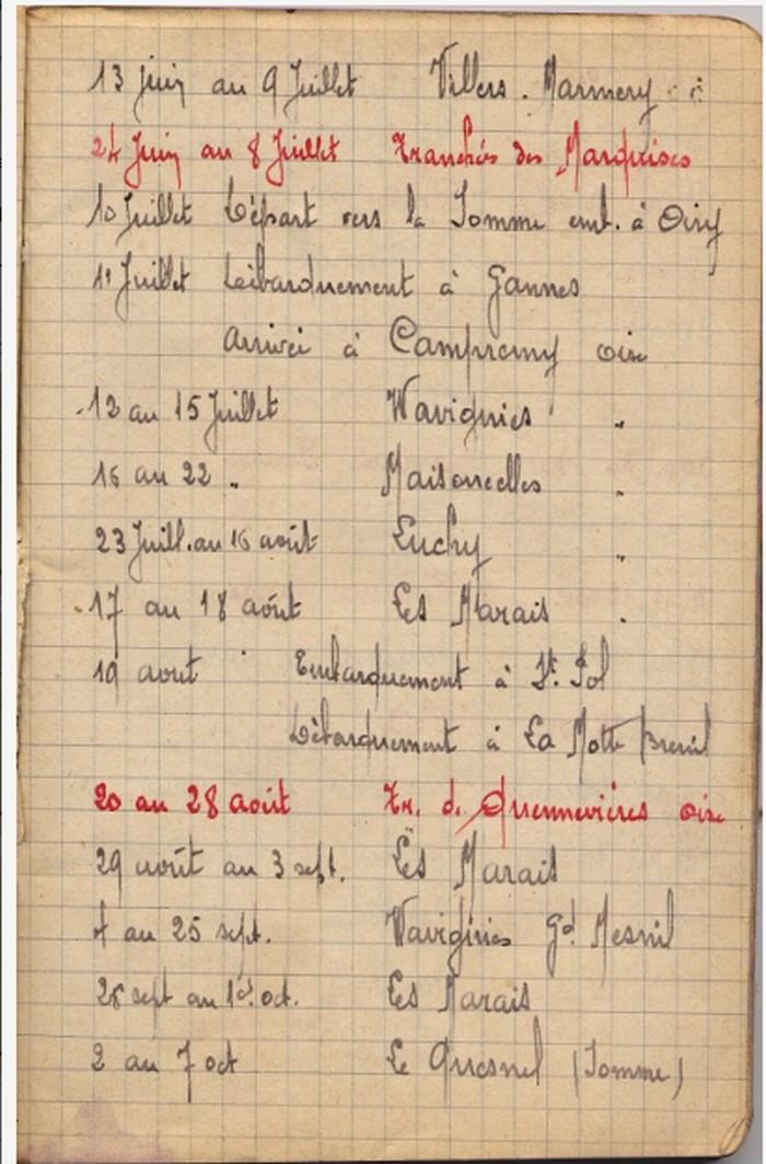 Pierre TANGUY et son carnet militaire Tanguy11